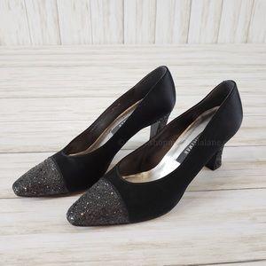 {Stuart Weitzman} Glitter Black Satin Heels-Sz 8.5